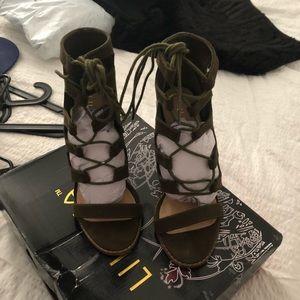 Olive strap heels